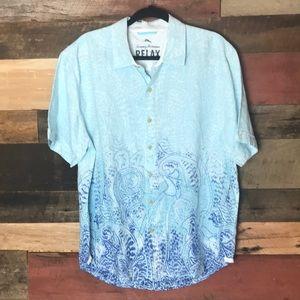 Tommy Bahama linen short sleeve button down shirt